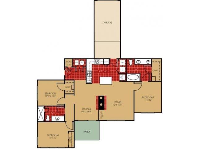Usonian II Floorplan at Main Street Village Apartments
