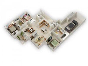 Usonian II Three Bed Two Bath Floor Plan at Main Street Village Apartments