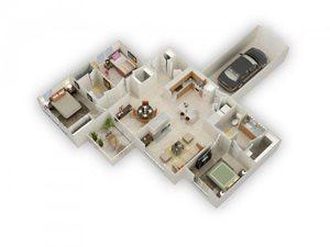 Usonian Three Bed Two Bath Floor Plan at Main Street Village Apartments