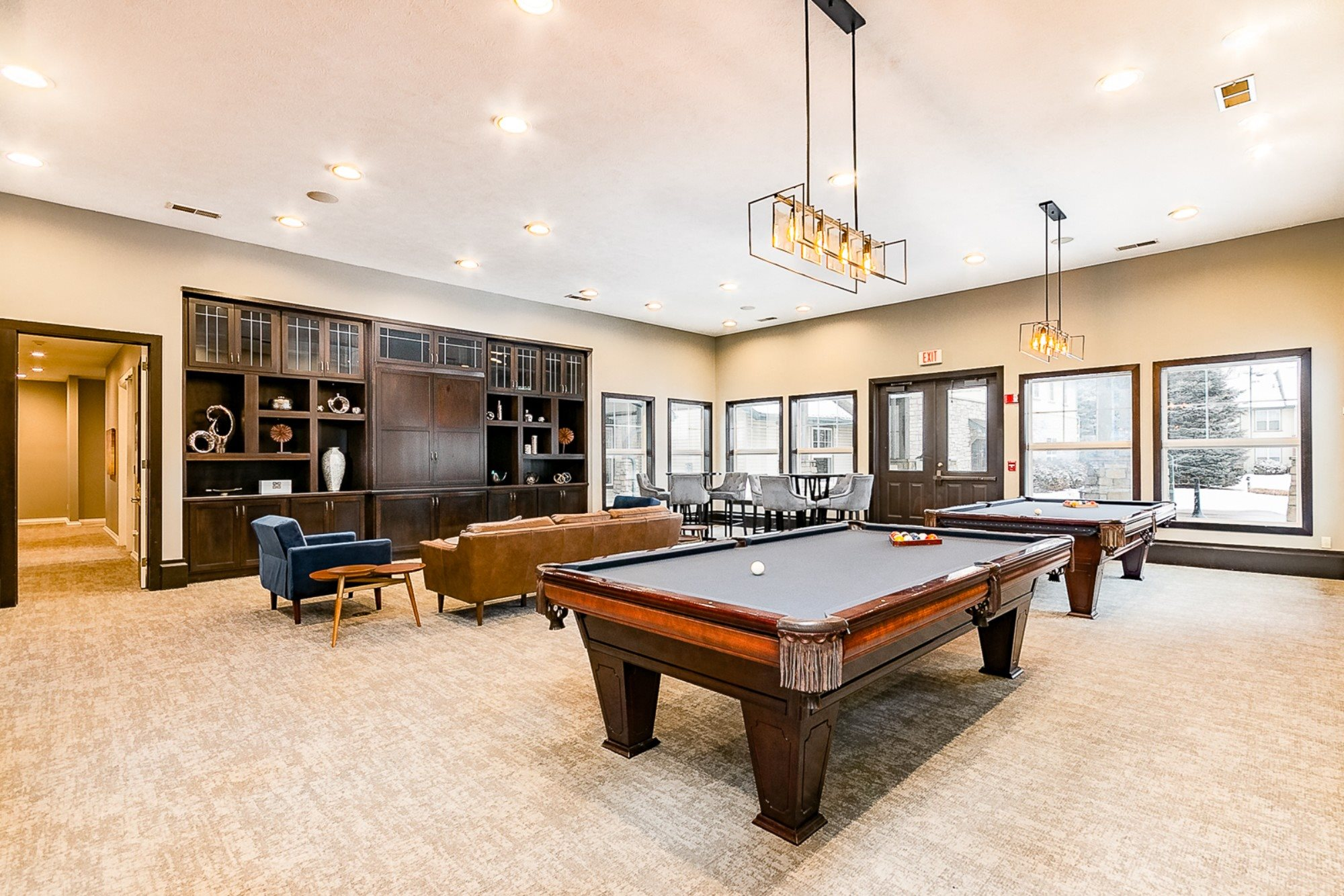 Billiards Lounge at Main Street Village Apartments, Granger, IN, 46530