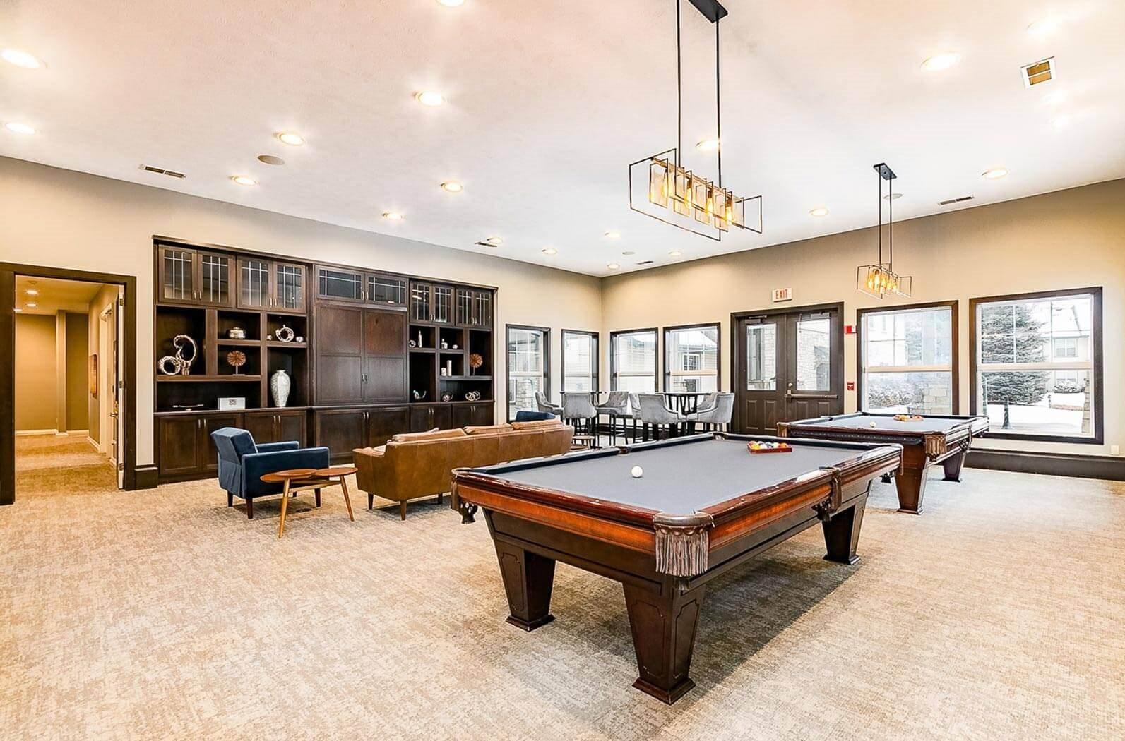 Billiards Lounge at Main Street Village Apartments, Granger, IN, 46530