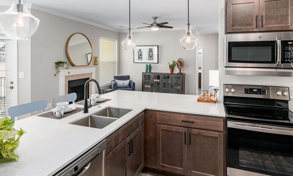 Renovated Kitchen at Main Street Village Apartments, Indiana