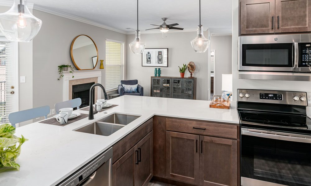 Renovated Kitchen at Main Street Village Apartments, Indiana