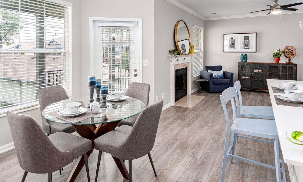 Contemporary Dining Room at Main Street Village Apartments, Granger, Indiana