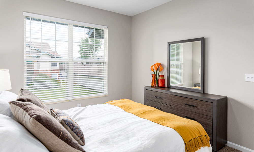 Comfortable Bedroom at Main Street Village Apartments, Granger, IN, 46530