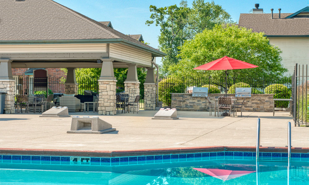 Picturesque Pool And Cabana Setting at Main Street Village Apartments, Granger, IN, 46530