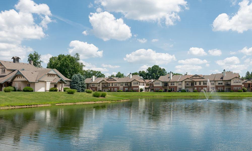 Lake With Lush Natural Surrounding at Main Street Village Apartments, Indiana