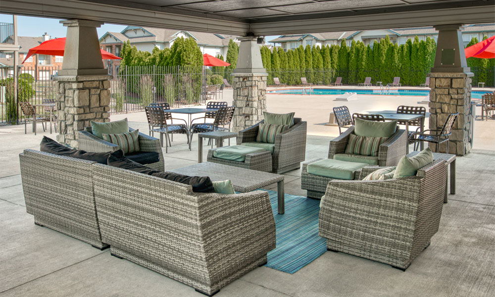 Lounge Swimming Pools With Cabana at Main Street Village Apartments, Granger, 46530