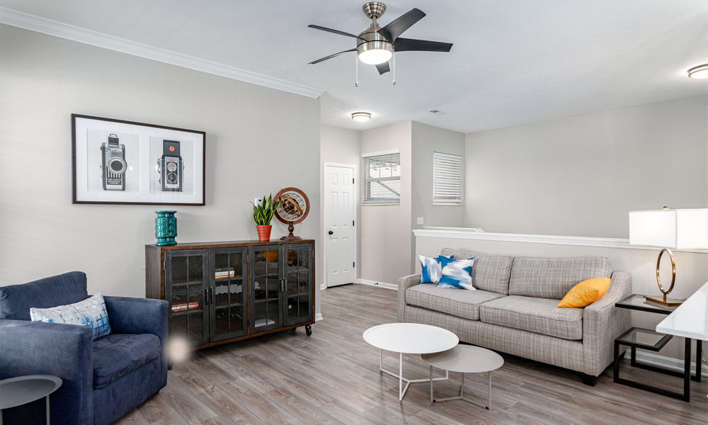 Bright Living Room at Main Street Village Apartments, Granger, IN, 46530