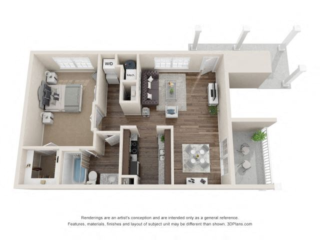 Blake One Bedroom One Bathroom Floor Plan at Fairlane Woods Apartments, Michigan