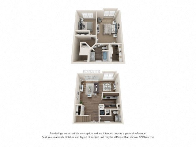 Byron Town Home Two Bedroom Floor Plan at Fairlane Woods Apartments, Dearborn