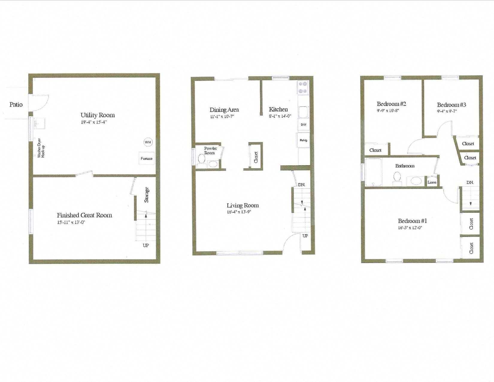 3 Bedroom Townhome Floor Plan 1