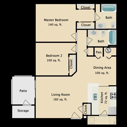 2 bed 2 bath Floor Plan 1