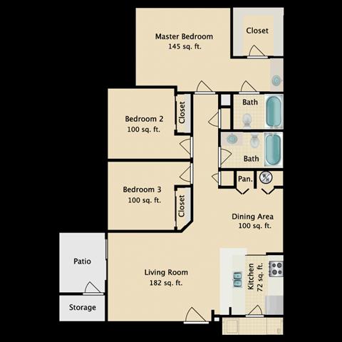 3 BED 2 BATH Floor Plan 2