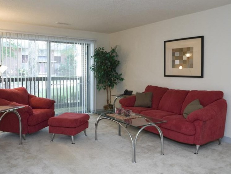 Red Furnished Living Room