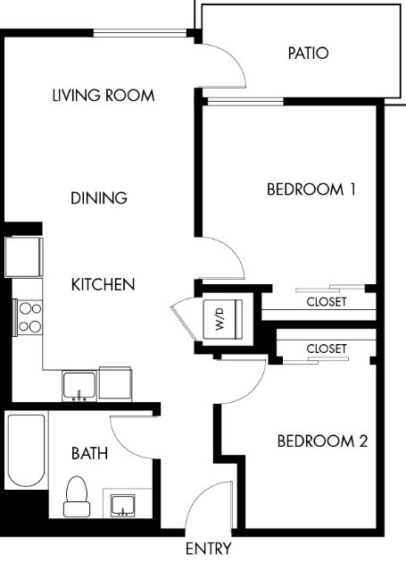 G12 Apartments_Los Angeles CA_Floor Plans_Two Bedroom One Bathroom_4