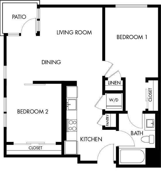 G12 Apartments_Los Angeles CA_Floor Plans_Two Bedroom One Bathroom_5