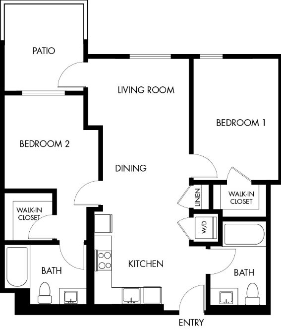 G12 Apartments_Los Angeles CA_Floor Plans_Two Bedroom Two Bathroom_6