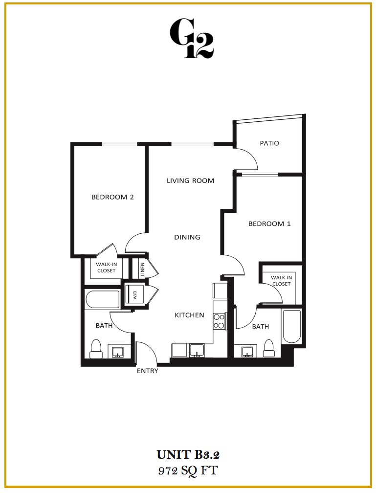 G12 Apartments_Los Angeles CA_Floor Plans_Two Bedroom Two Bathroom_8