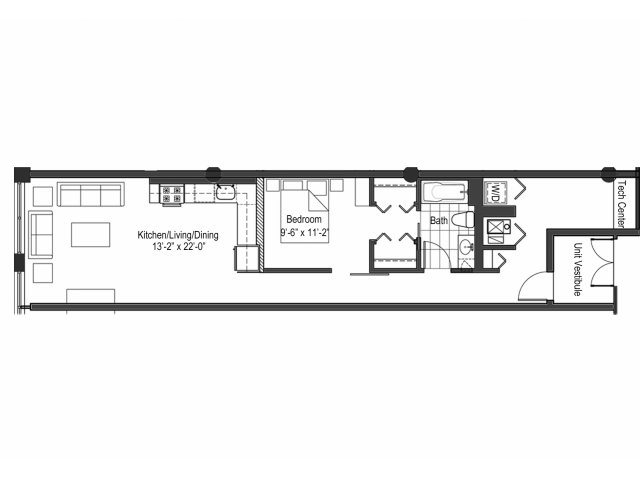 One Bedroom Den Floor Plan 3