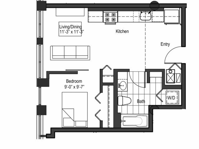 One Bedroom Junior Floor Plan 2