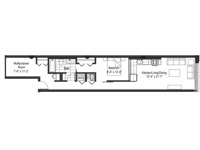Two Bedroom One Bath Floor Plan 9