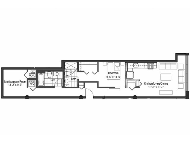 Two Bedroom Two Bath Floor Plan 10