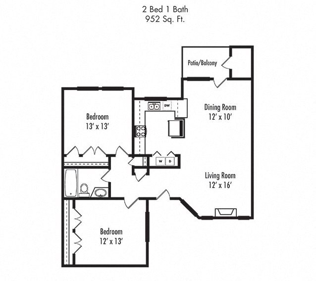 2 x 1 Floorplan at Canyon Villa Apartments, Chula Vista, CA