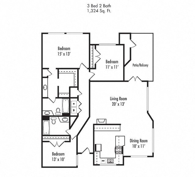 3 x 2 Floorplan at Canyon Villa Apartments, Chula Vista
