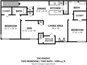2 Bedroom 2 Bath Den
