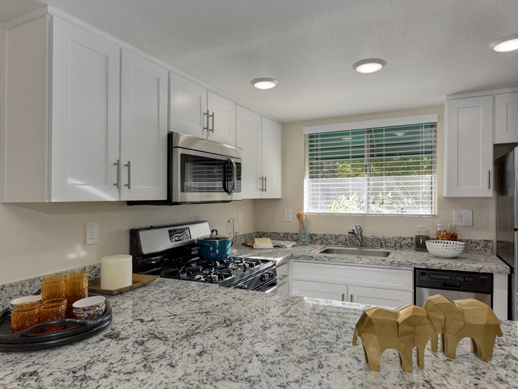 Luxury Apartment Community Kitchen Bar Seating with Granite Counter
