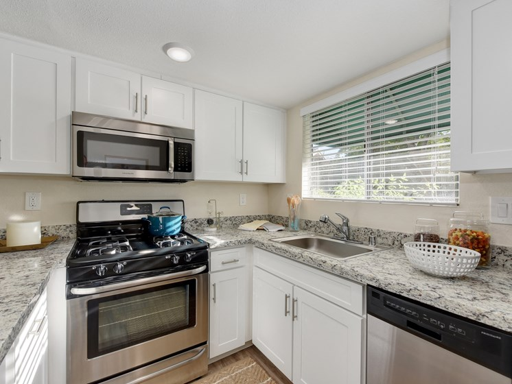 Luxury Apartment Community Kitchen with Stainless Steel Appliances and Granite Countertops