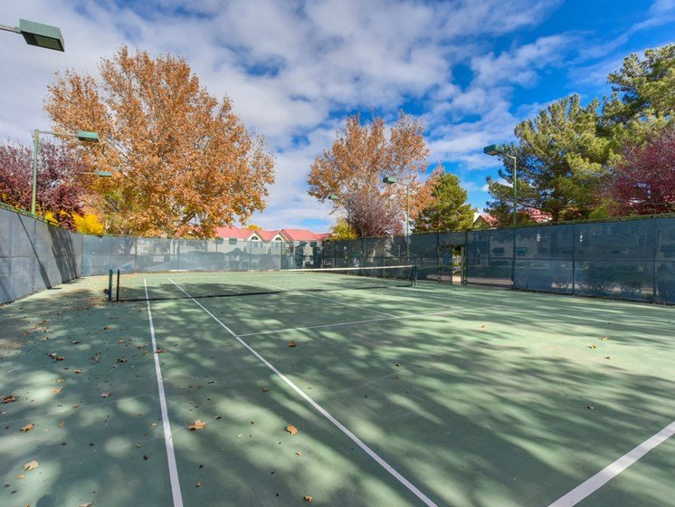 Luxury Apartment Community Tennis Court Wide View
