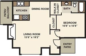 The Forest Apartments One Bedroom Floorplan