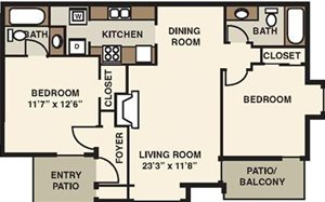 The Forest Apartments Two Bedroom Floorplan