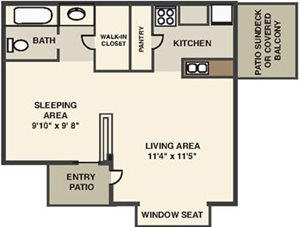 The Forest Apartment Studio Floorplan