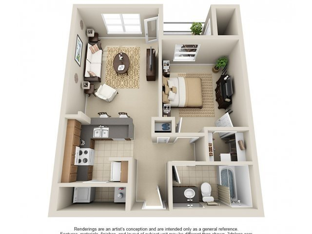 One Bedroom A1 Floor Plan 1