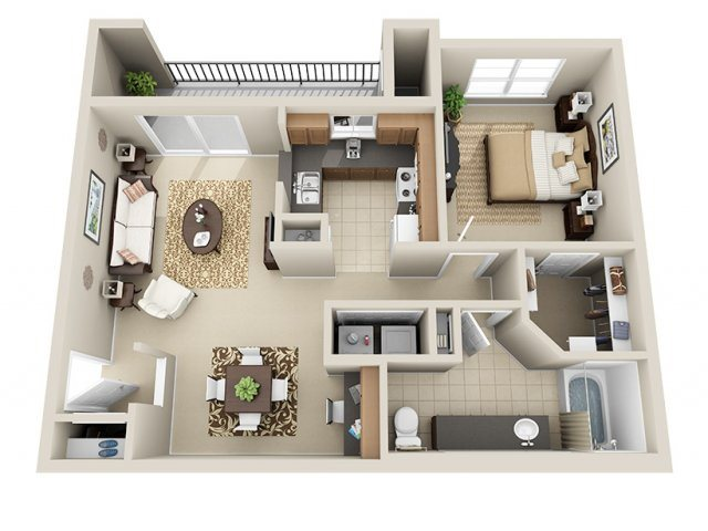 One Bedroom A3 Floor Plan 3