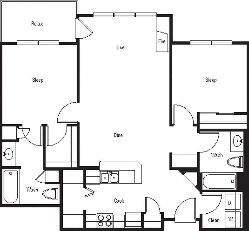 Del Mar – 2 Bedroom 2 Bath Floor Plan Layout – 1008 Square Feet