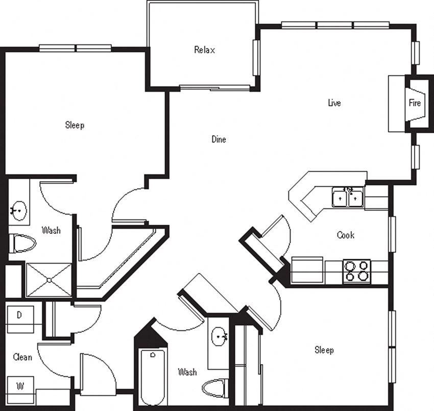 KeyLargo – 2 Bedroom 2 Bath Floor Plan Layout – 1084 Square Feet