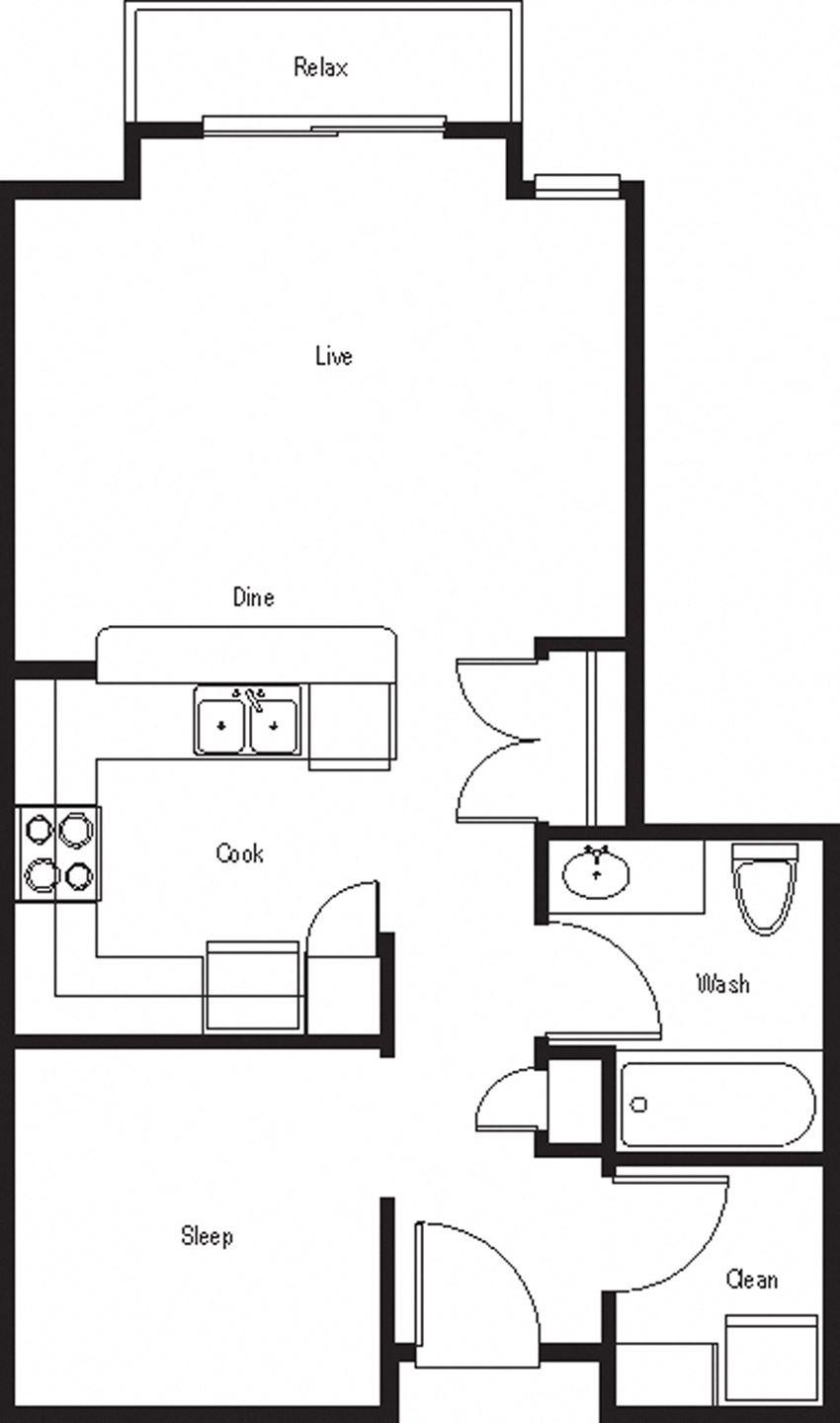 Palmetto – 0 Bedroom 1 Bath Floor Plan Layout – 577 Square Feet