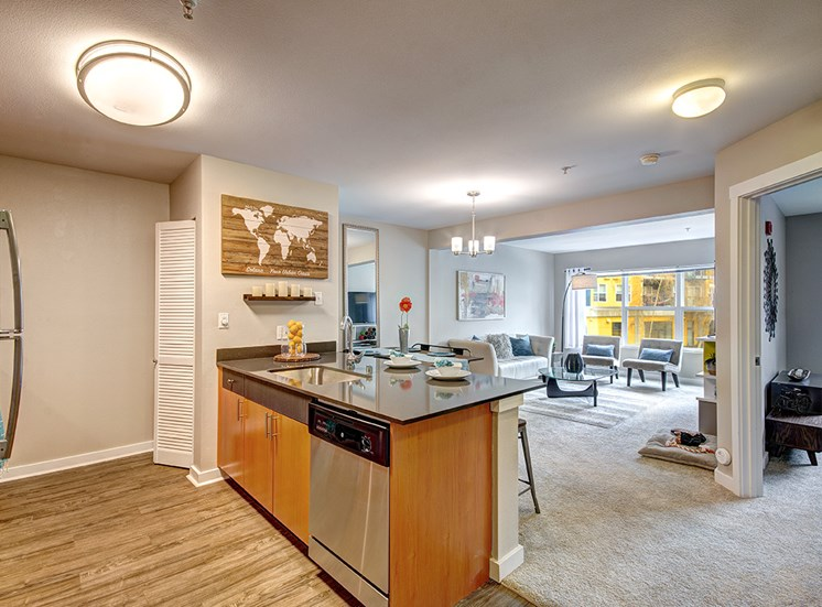 Kitchen with stainless steel appliances and living area