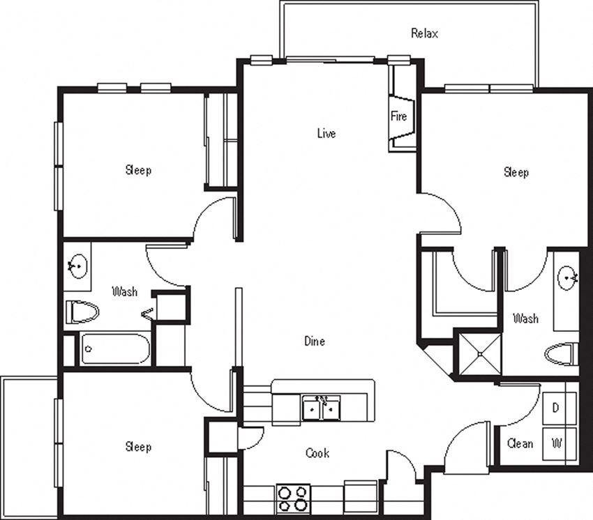 Sonesta – 3 Bedroom 2 Bath Floor Plan Layout – 1089 Square Feet