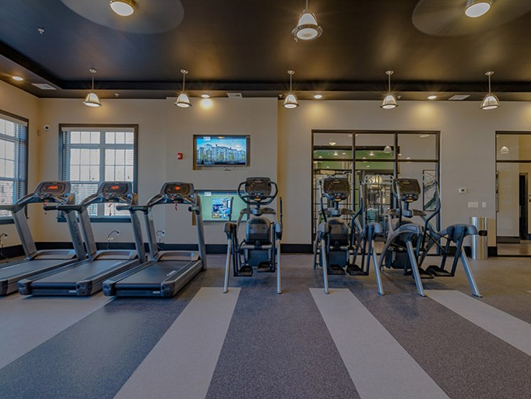 Fitness Center with TV at Abberly Square by HHHunt, Maryland, 20601