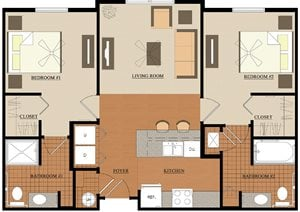 Abigail Court 2 Bedroom Floor Plan