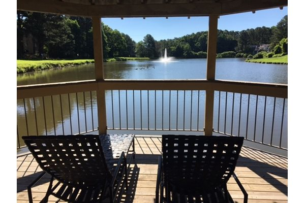 Seated view in the lake gazebo