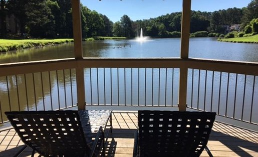 seated lake view in gazebo