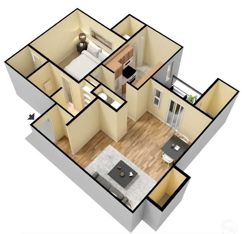 Oak 3d floor plan