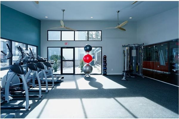 Fitness center with equipment