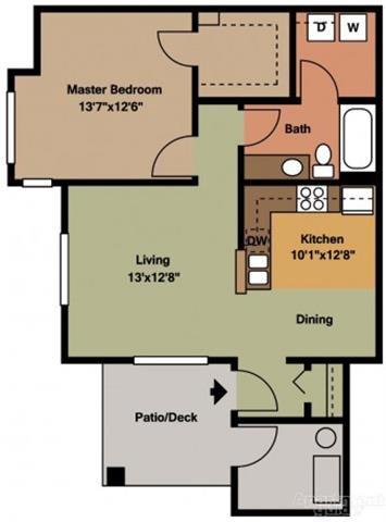 1BR-2 Floor Plan 1